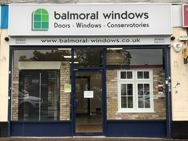balmoral windows doors and conservatories shop front with logo and signage